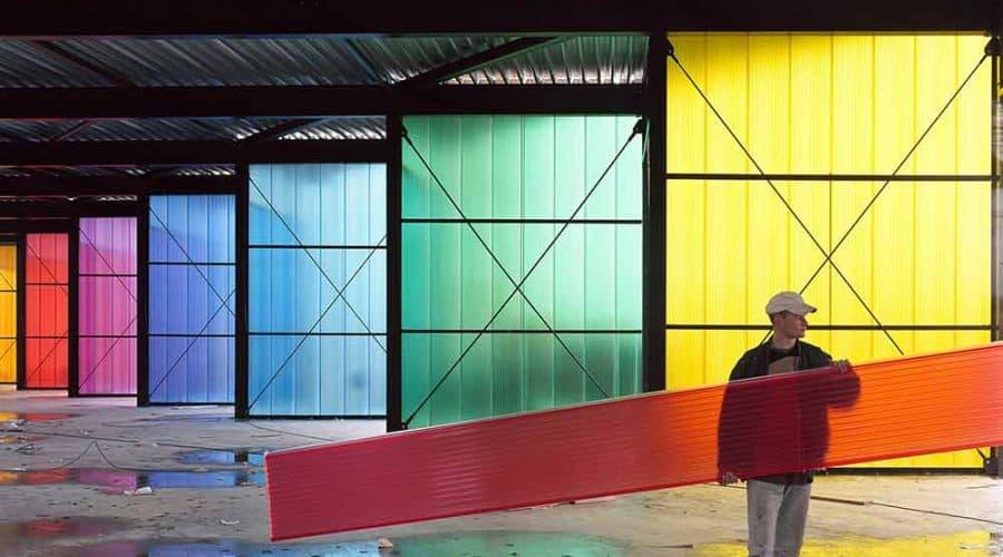 Gekleurde panelen Berneveld Brandweerkazerne